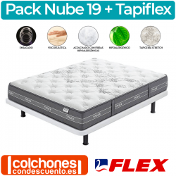 Pack Colchón Flex Nube Visco + Base Tapiflex