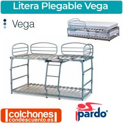 Cama Litera Metálica y Plegable Modelo Vega de Pardo