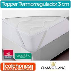 Sobrecolchón (Topper) Termorregulador Fibra 3 cm TC07 de Classic Blanc