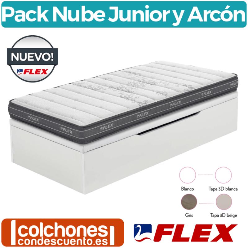 Pack Colchón Nube Junior Visco A + Canapé Apertura Lateral Madera 25 de Flex