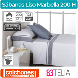 Juego de Sábanas Liso Marbella 100% Algodón percal 200 hilos de Estelia