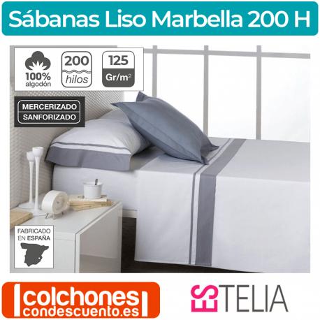 Juego de Sábanas 100% Algodón Es-Tela Liso Marbella