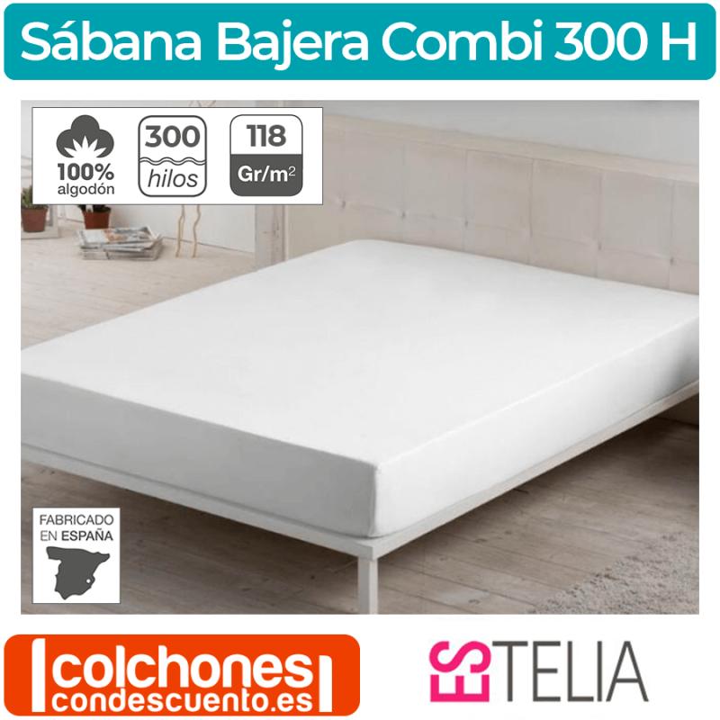 Sábana Bajera Combi Liso Algodón 300 Hilos Es-tela