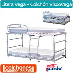 Pack Cama Litera Plegable y Colchones ViscoVega de Pardo