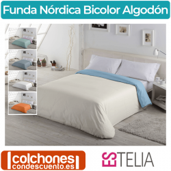Funda Nórdica Liso Bicolor Algodon de Estelia