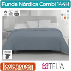 Funda Nórdica Liso Combi 100% Algodón 144 Hilos de Estelia