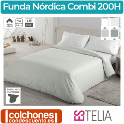 Funda Nórdica Liso Combi 100% Algodón 200 Hilos de Estelia
