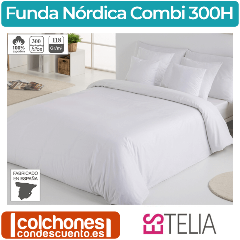 Funda Nórdica Combi Liso 300 Hilos de Estelia