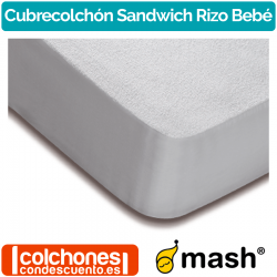 Cubrecolchón Sandwich Rizo Impermeable Bebé de Mash