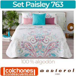 Set de Colcha y Funda de Cojín 100% algodón Paisley 763