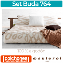 Set Colcha y Funda Cojín Buda 100% Algodón de Manterol Casa