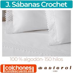 Juego de Sábanas Crochet 001-C02 100% Algodón 150 Hilos de Manterol Casa