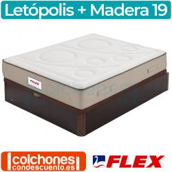 Pack Colchón Flex Letópolis Visco + Canapé Madera 19