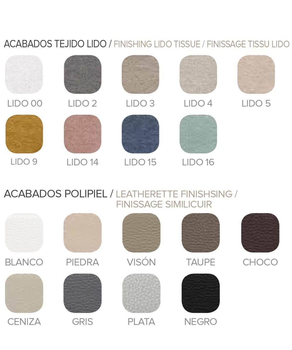 Paleta colores disponibles cabeceros y camas